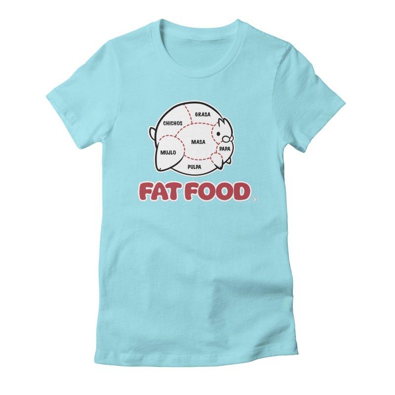 FAT FOOD Women's Fitted T-Shirt by Tripleta Studio Shop