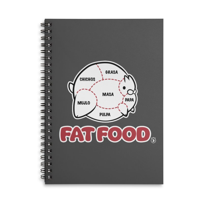 FAT FOOD Accessories Lined Spiral Notebook by Tripleta Studio Shop