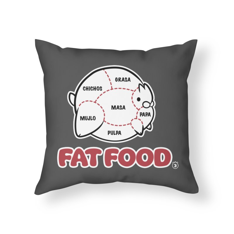 FAT FOOD in Throw Pillow by Tripleta Gourmet Clothing