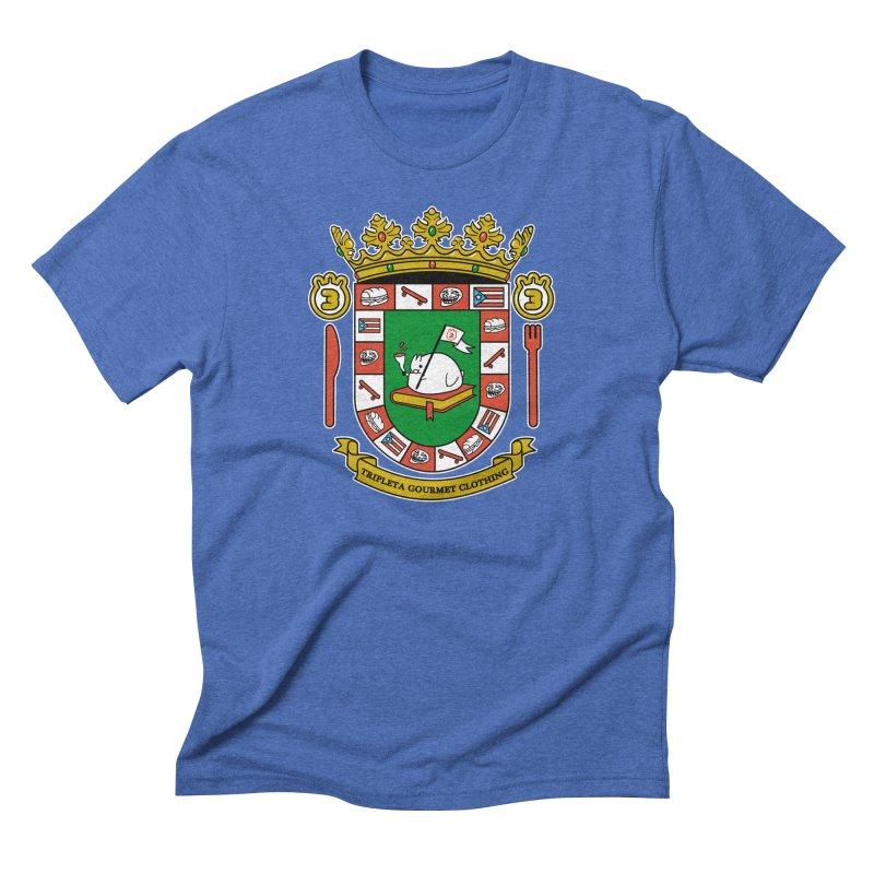 ESCUDO in Men's Triblend T-Shirt Blue Triblend by Tripleta Studio Shop