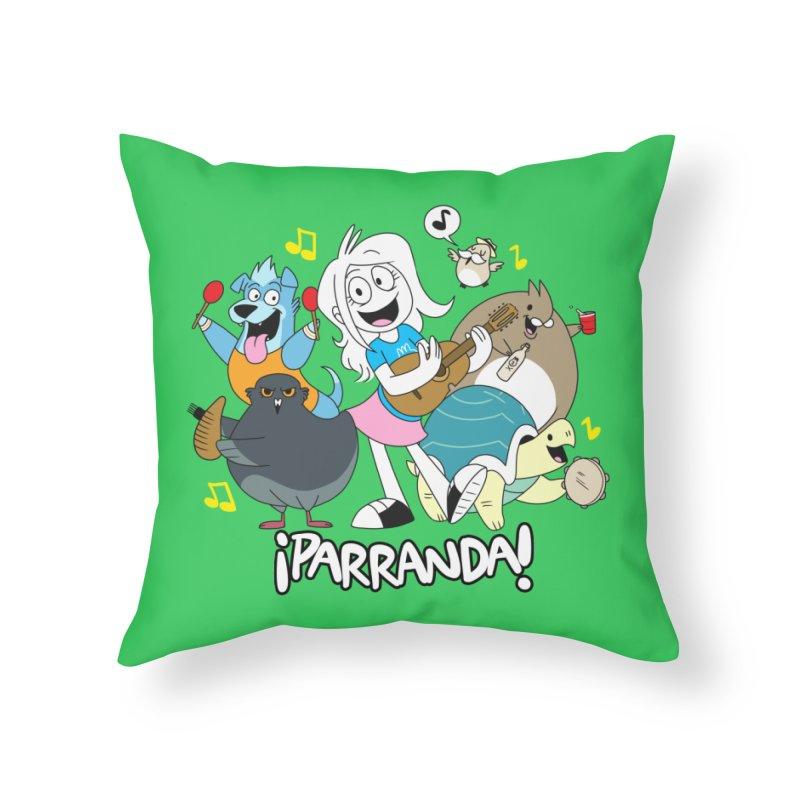 PARRANDA PALS Home Throw Pillow by Tripleta Gourmet Clothing