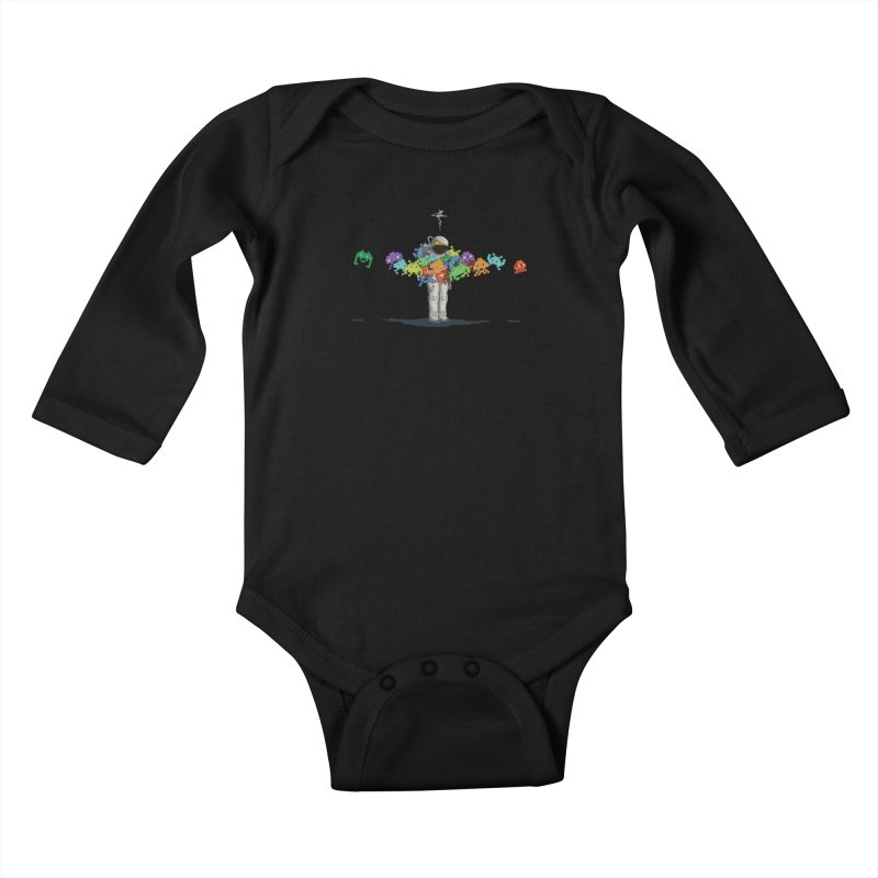 Personal Space Invaders Kids Baby Longsleeve Bodysuit by tristan's Artist Shop