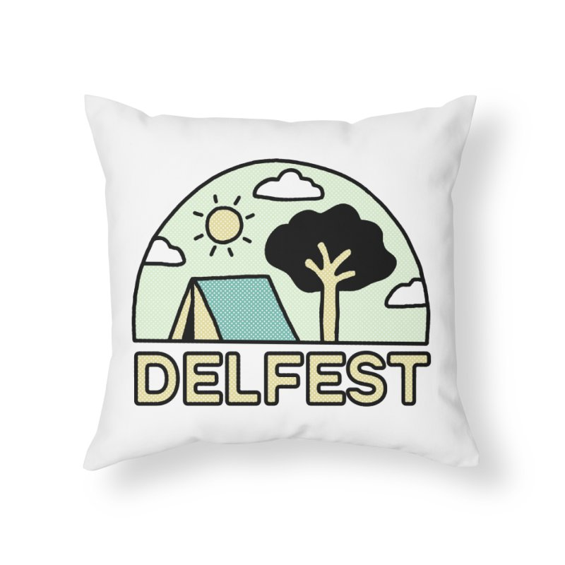 Delfest Campin' Home Throw Pillow by troublemuffin's Artist Shop