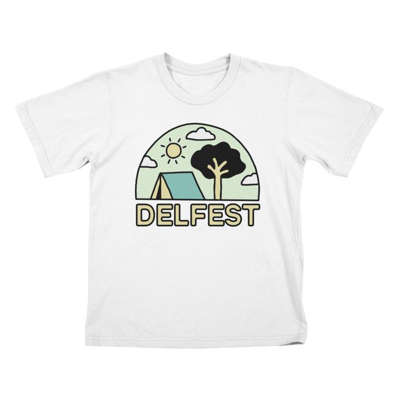 Delfest Campin' Kids T-Shirt by troublemuffin's Artist Shop