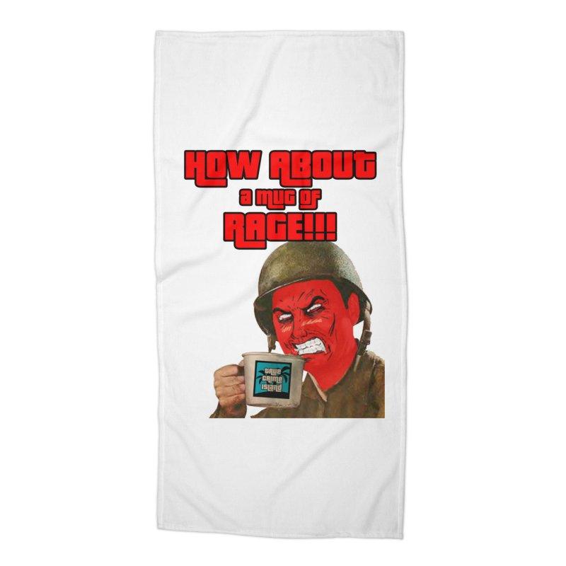 Mug of Rage Accessories Beach Towel by True Crime Island's Artist Shop