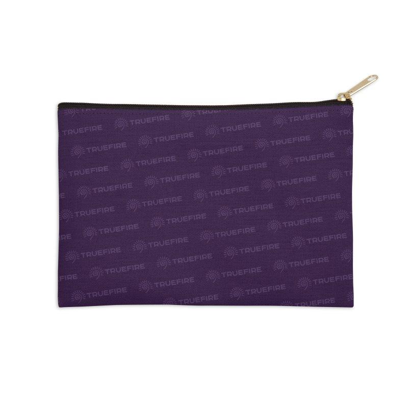 TrueFire Purple Logo Pattern Accessories Zip Pouch by TrueFire Merch Shop