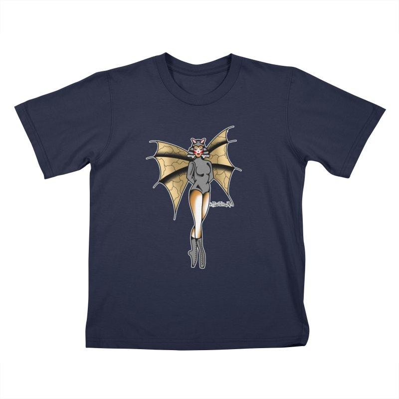 BATWING PINUP BY JADE R. Kids T-Shirt by True Love Tattoo Studios Shop