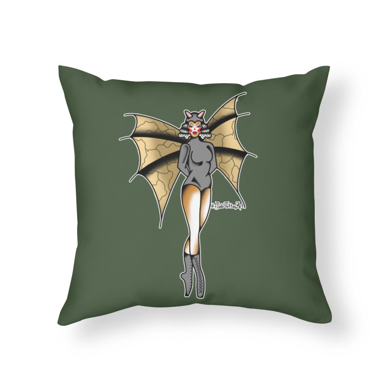 BATWING PINUP BY JADE R. Home Throw Pillow by True Love Tattoo Studios Shop