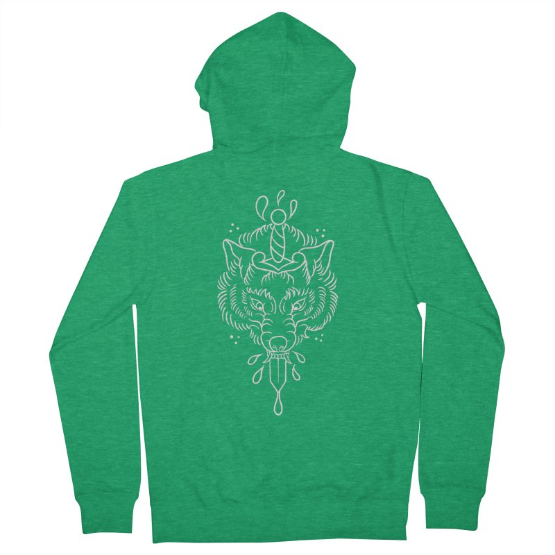 WOLF BLOOD WHITE OUTLINE BY ASH Men's Zip-Up Hoody by True Love Tattoo Studios Shop