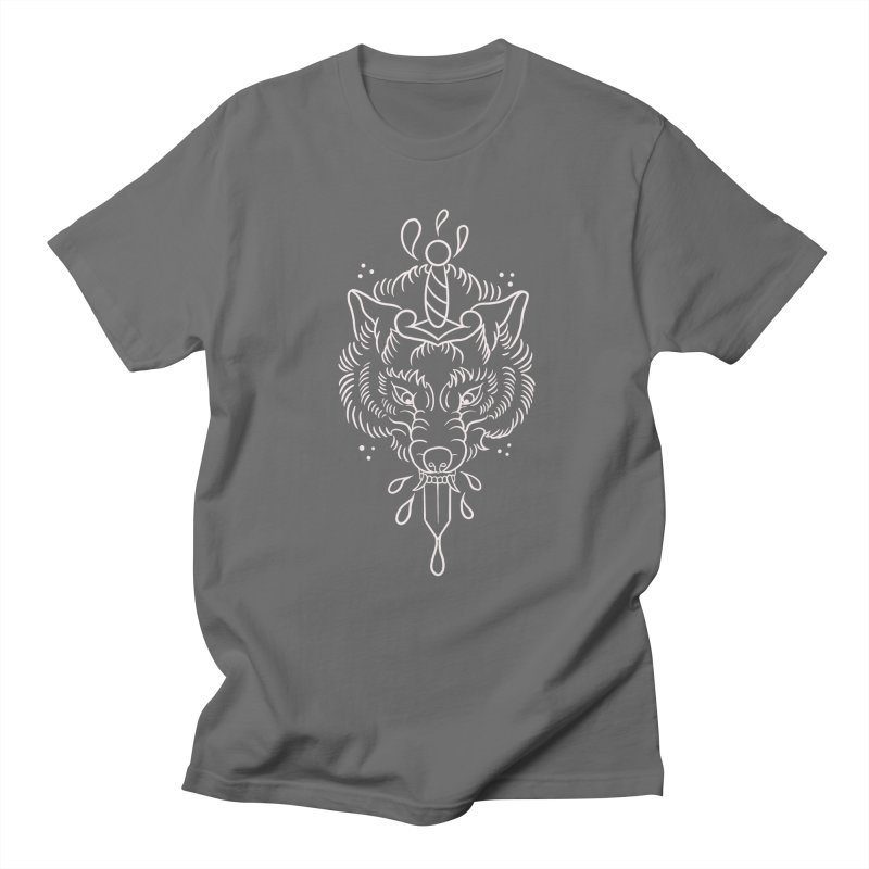 WOLF BLOOD WHITE OUTLINE BY ASH Men's T-Shirt by True Love Tattoo Studios Shop