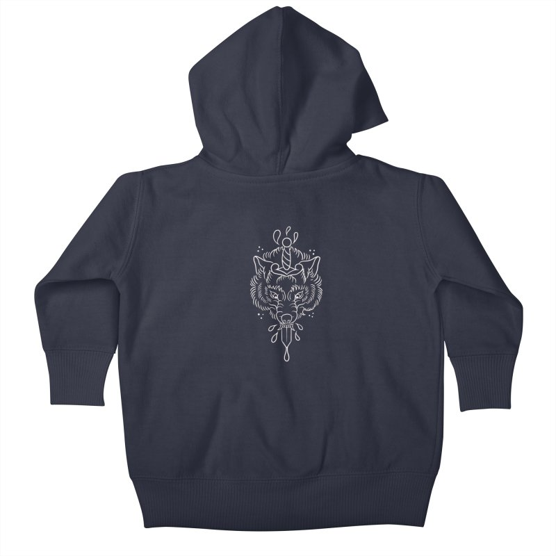 WOLF BLOOD WHITE OUTLINE BY ASH Kids Baby Zip-Up Hoody by True Love Tattoo Studios Shop