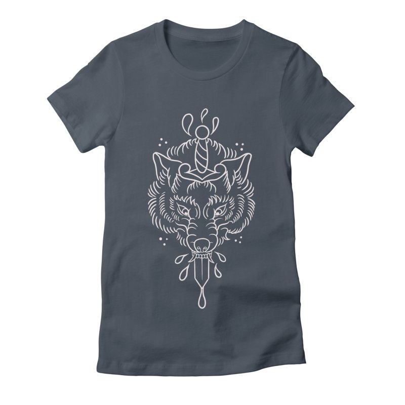 WOLF BLOOD WHITE OUTLINE BY ASH Women's T-Shirt by True Love Tattoo Studios Shop