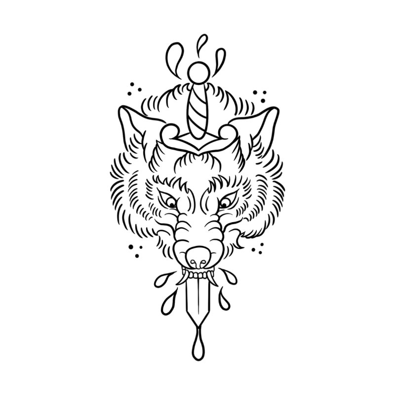 WOLFBLOOD BLACK OUTLINE BY ASH Women's Longsleeve T-Shirt by True Love Tattoo Studios Shop