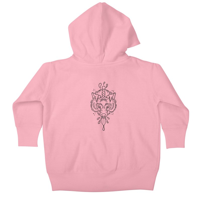 WOLFBLOOD BLACK OUTLINE BY ASH Kids Baby Zip-Up Hoody by True Love Tattoo Studios Shop