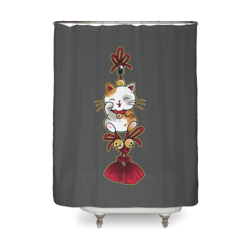 Lucky Cat By Constantina Home Shower Curtain by True Love Tattoo Studios Shop