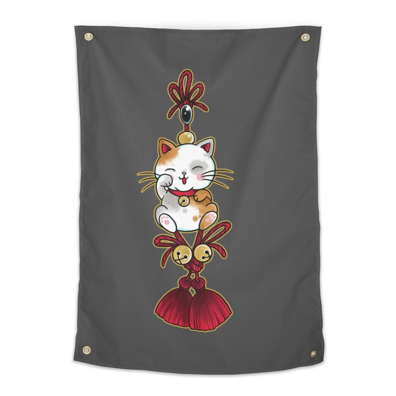 Lucky Cat By Constantina Home Tapestry by True Love Tattoo Studios Shop