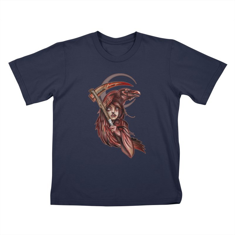 RED REAPER BY ERICK RIVERO Kids T-Shirt by True Love Tattoo Studios Shop