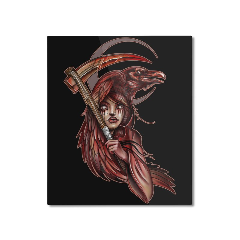 RED REAPER BY ERICK RIVERO Home Mounted Aluminum Print by True Love Tattoo Studios Shop
