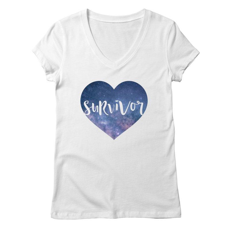 Survivor in Women's Regular V-Neck White by True Words's Artist Shop