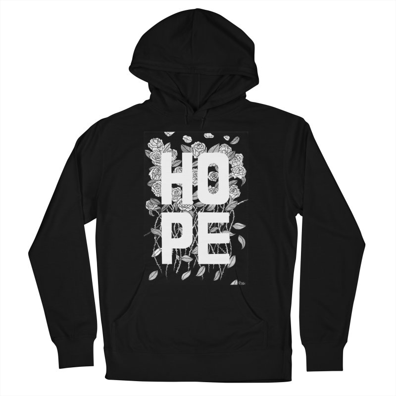 Hope in Women's French Terry Pullover Hoody Black by True Words's Artist Shop