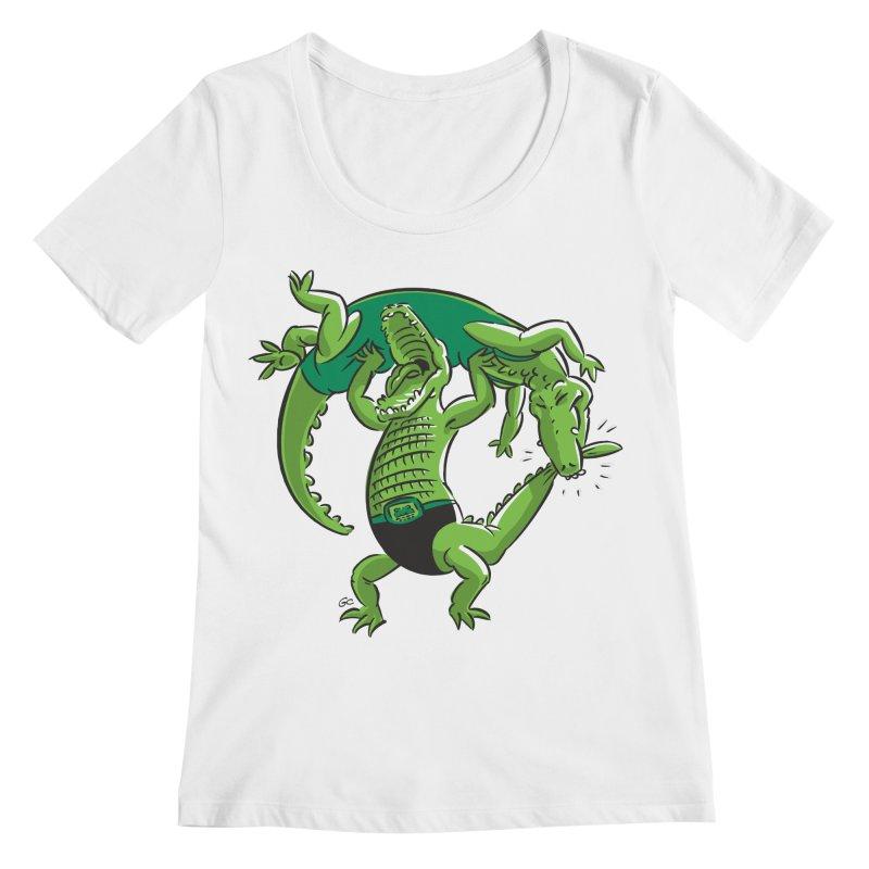 Alligator Wrestling Women's Scoopneck by Trulyfunky Shop @ Threadless!