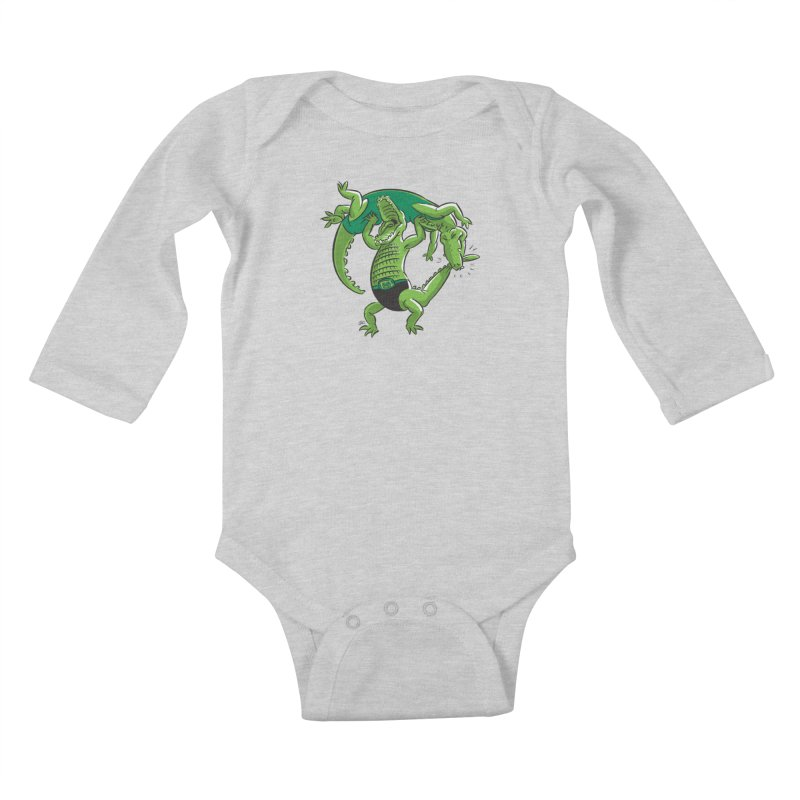 Alligator Wrestling Kids Baby Longsleeve Bodysuit by Trulyfunky Shop @ Threadless!