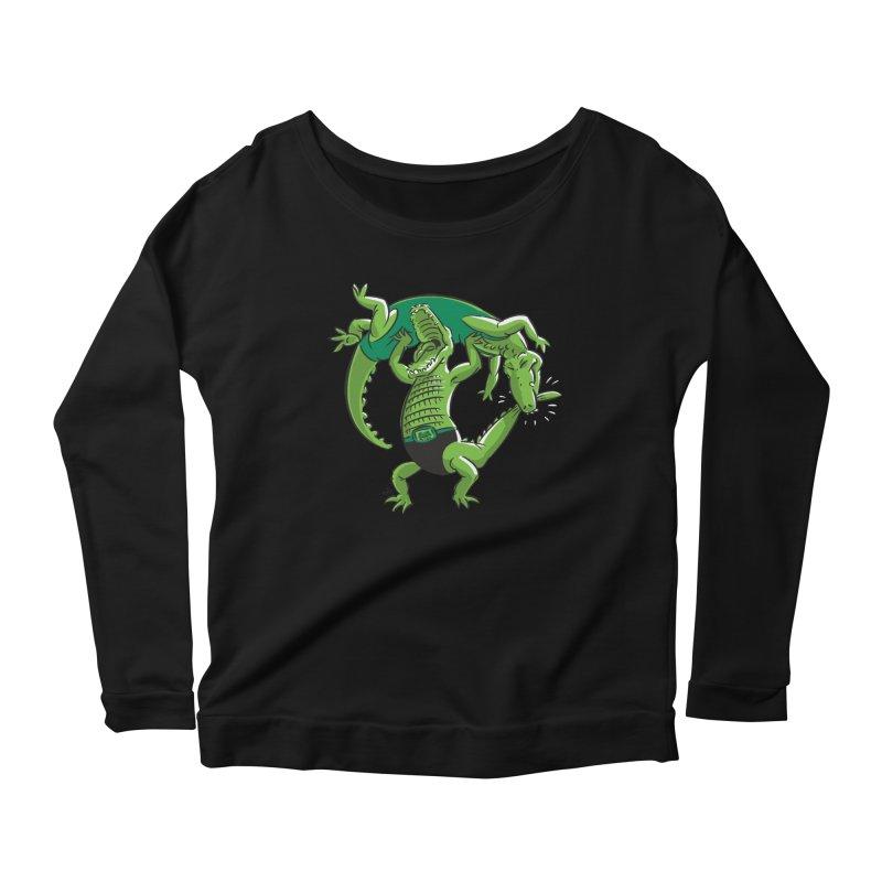Alligator Wrestling Women's Longsleeve Scoopneck  by Trulyfunky Shop @ Threadless!
