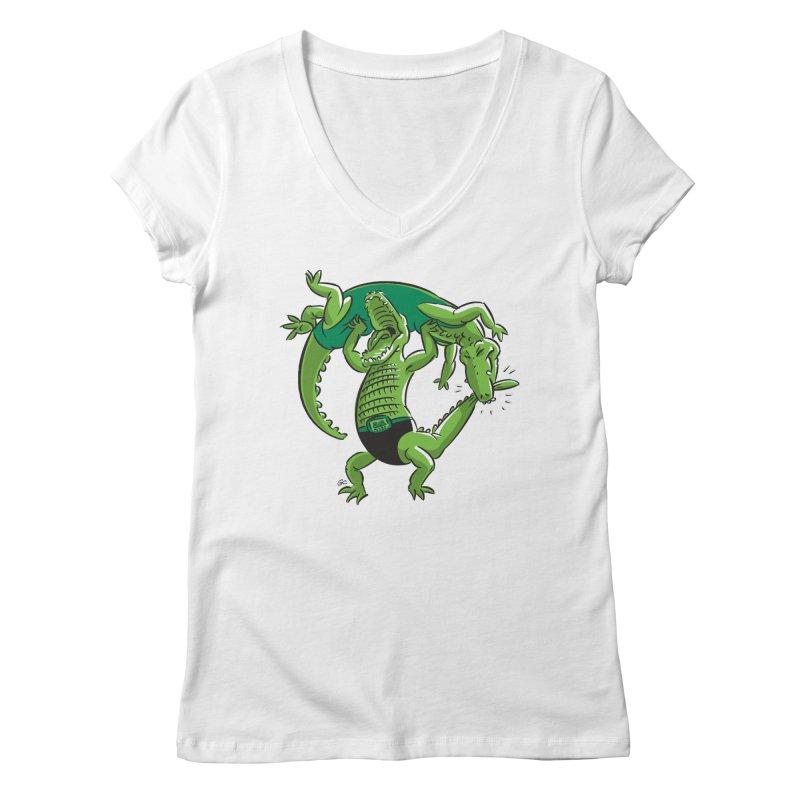 Alligator Wrestling Women's V-Neck by Trulyfunky Shop @ Threadless!