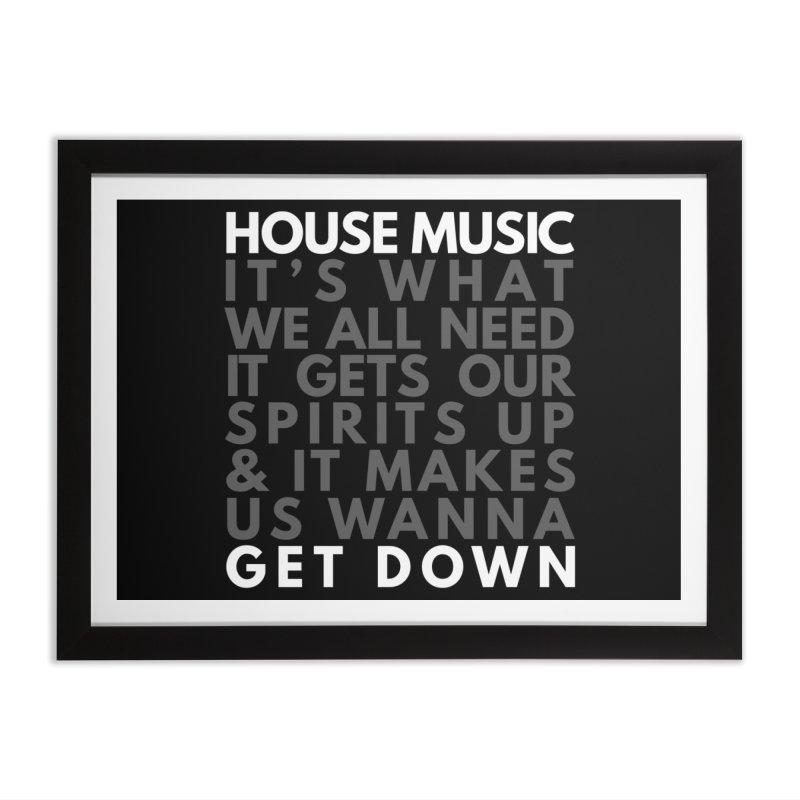 House Music Lyric Square Home Framed Fine Art Print by Tru Musica Merchandise