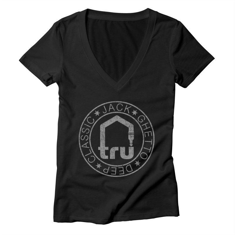 Tru Patch Grey Distressed Women's V-Neck by Tru Musica Merchandise