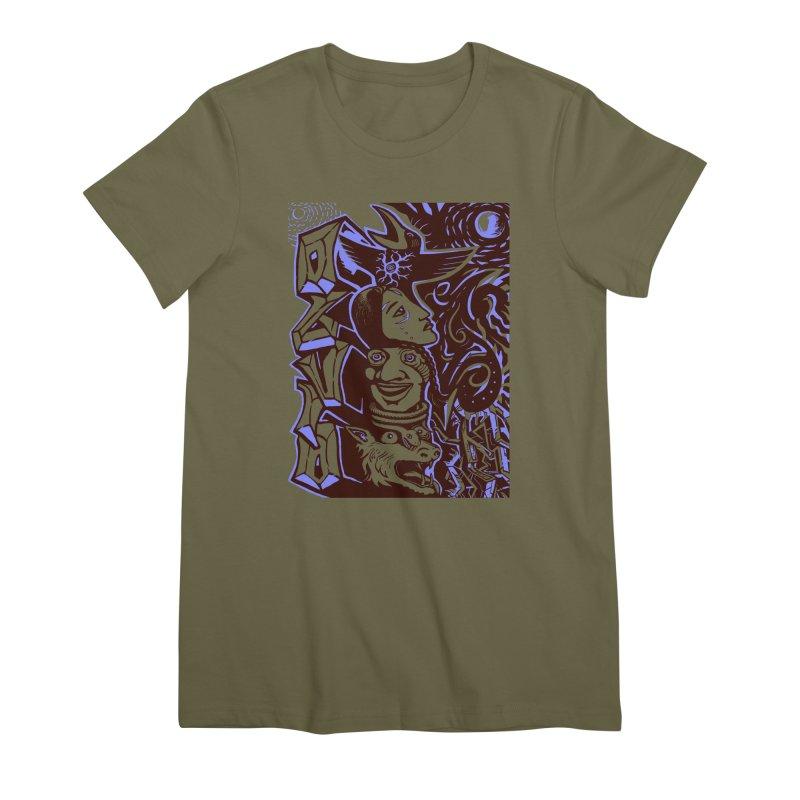 totem blue Women's Premium T-Shirt by truthpup's Artist Shop
