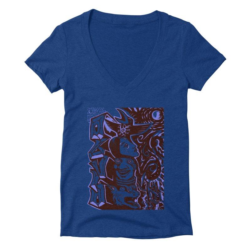 totem blue Women's Deep V-Neck V-Neck by truthpup's Artist Shop