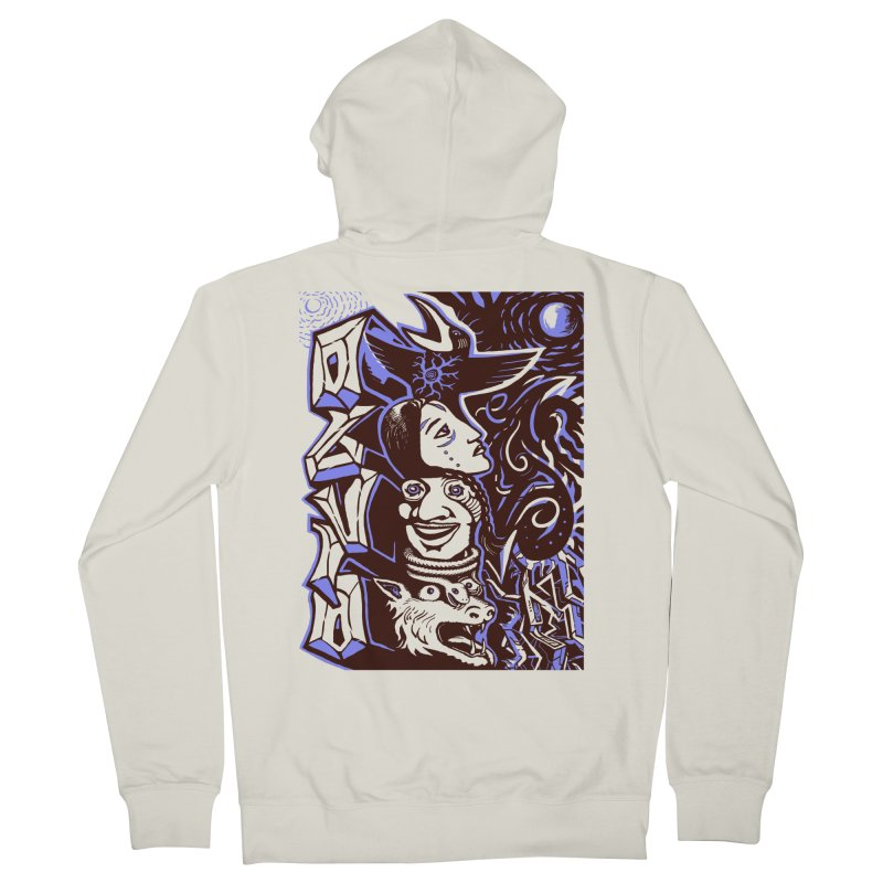 totem blue Women's French Terry Zip-Up Hoody by truthpup's Artist Shop