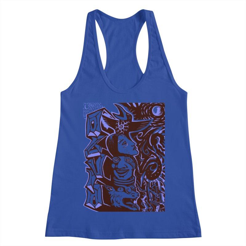 totem blue Women's Racerback Tank by truthpup's Artist Shop