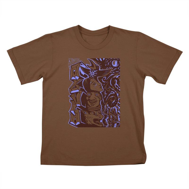 totem blue Kids T-Shirt by truthpup's Artist Shop
