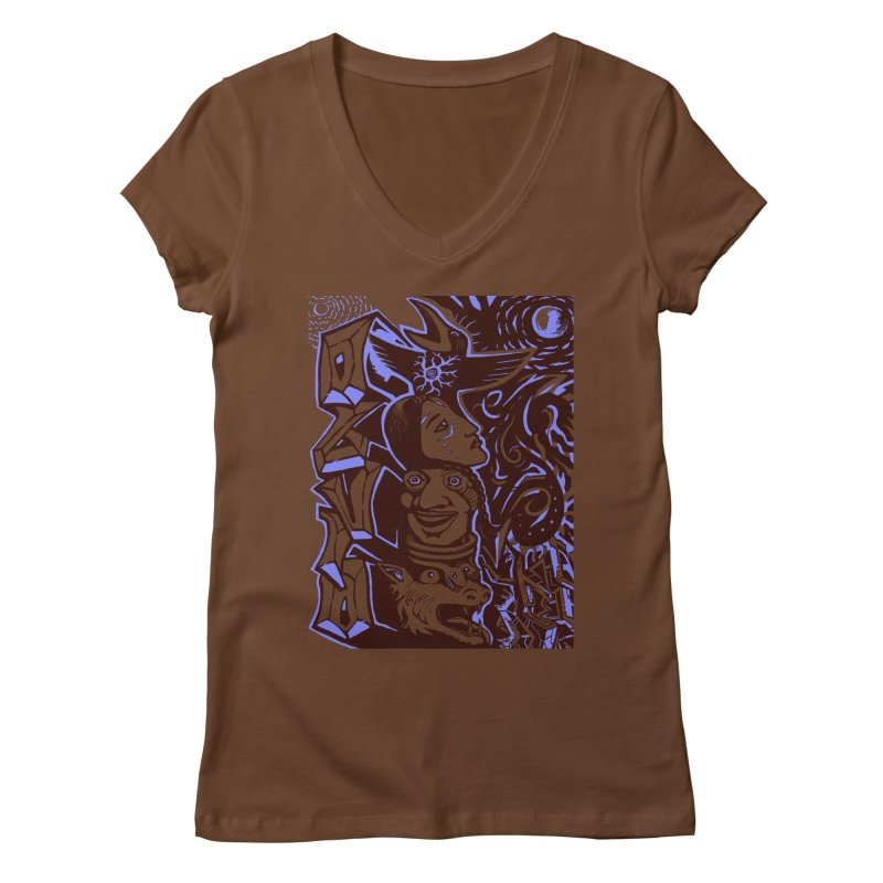 totem blue Women's Regular V-Neck by truthpup's Artist Shop