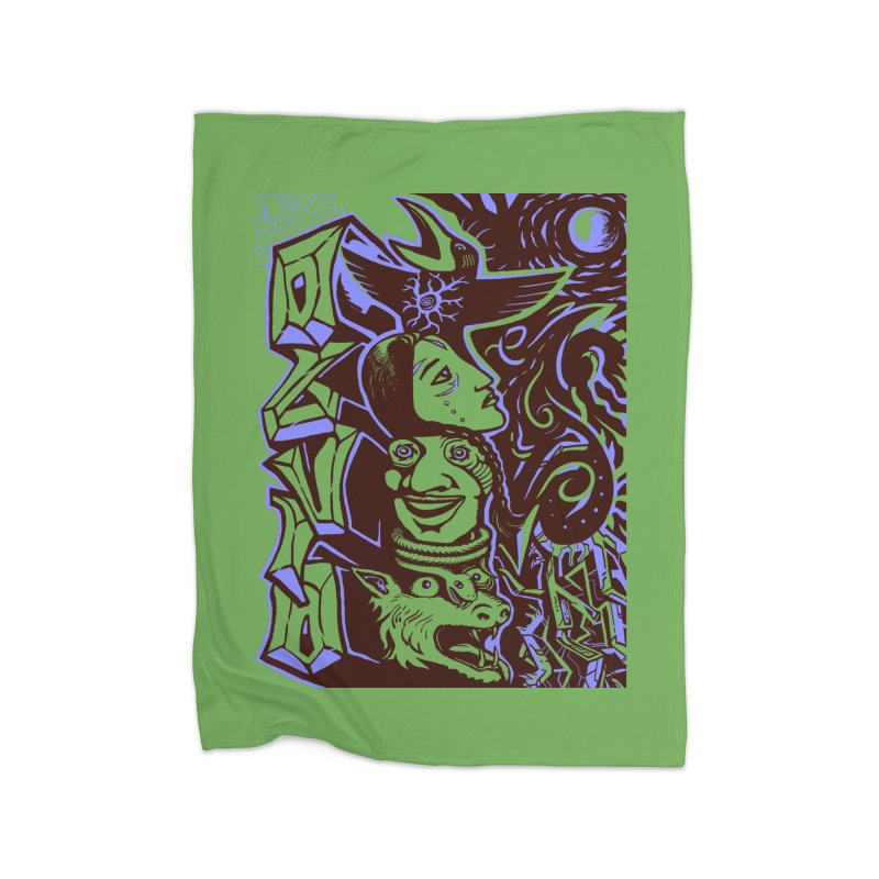 totem blue Home Fleece Blanket Blanket by truthpup's Artist Shop