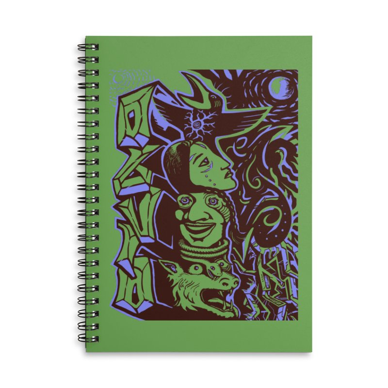 totem blue Accessories Lined Spiral Notebook by truthpup's Artist Shop