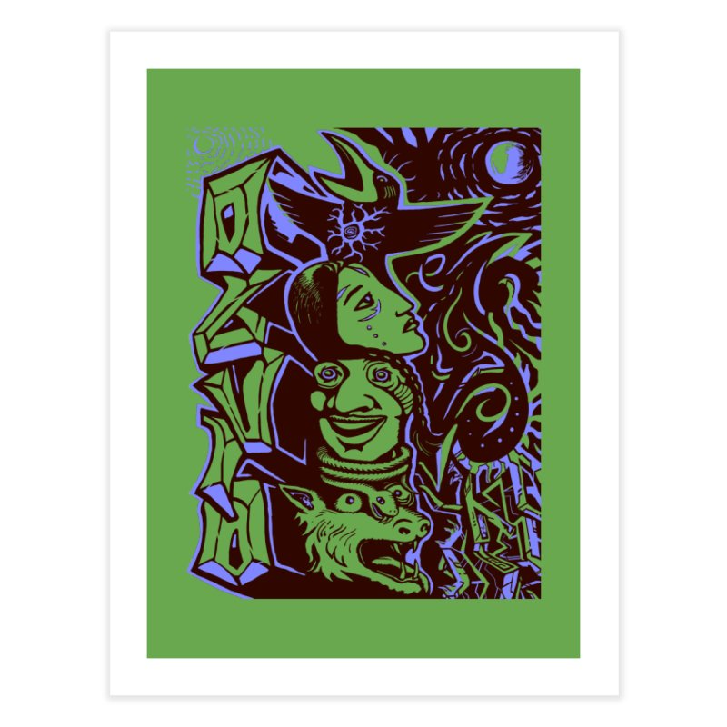 totem blue Home Fine Art Print by truthpup's Artist Shop