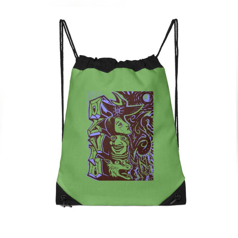 totem blue Accessories Drawstring Bag Bag by truthpup's Artist Shop