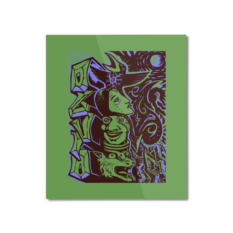 totem blue Home Mounted Aluminum Print by truthpup's Artist Shop