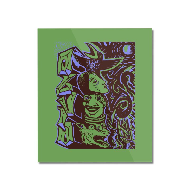 totem blue Home Mounted Acrylic Print by truthpup's Artist Shop