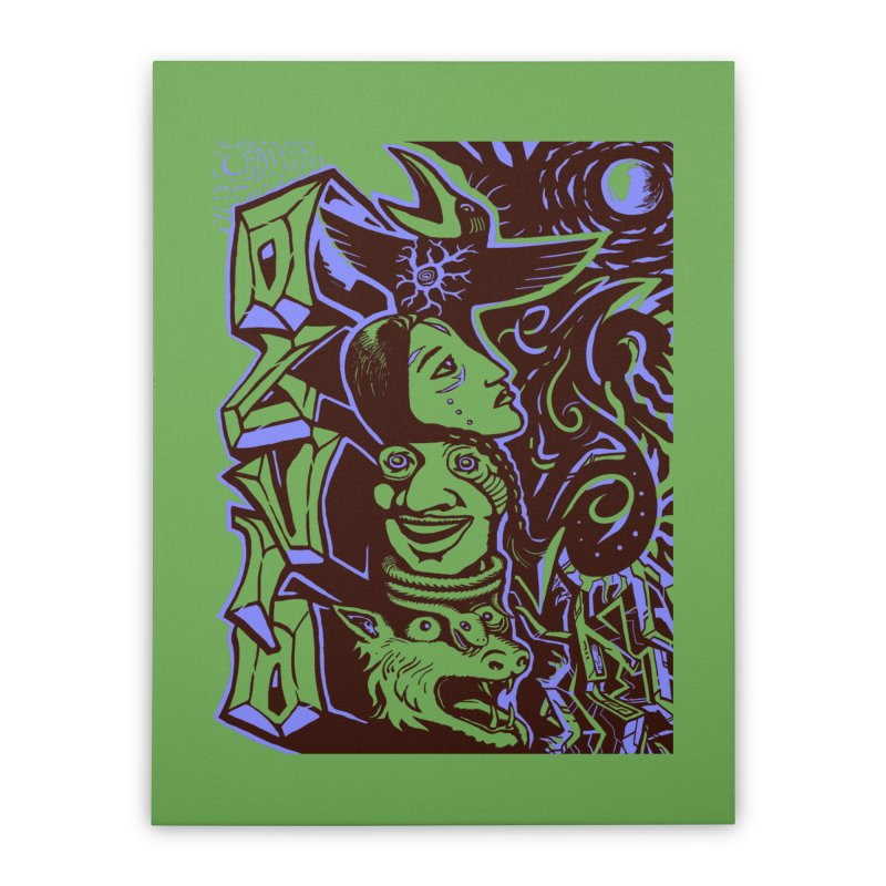 totem blue Home Stretched Canvas by truthpup's Artist Shop