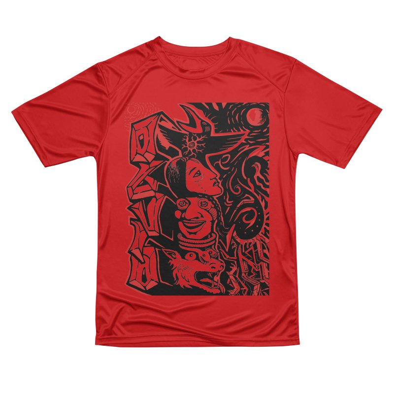 totem red Women's Performance Unisex T-Shirt by truthpup's Artist Shop