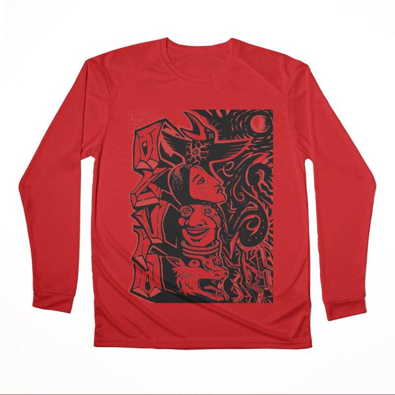 totem red Men's Performance Longsleeve T-Shirt by truthpup's Artist Shop