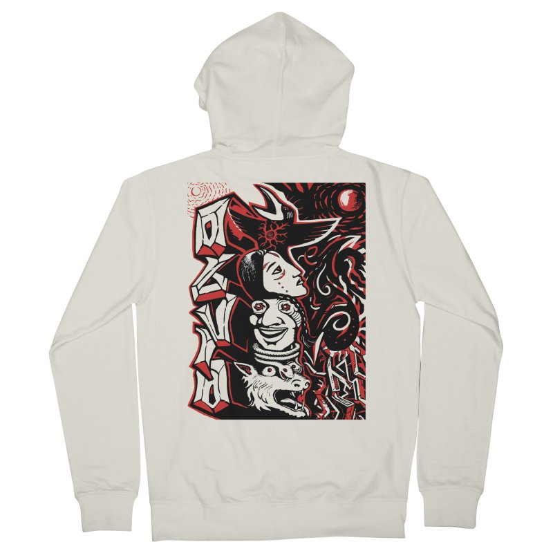 totem red Women's French Terry Zip-Up Hoody by truthpup's Artist Shop