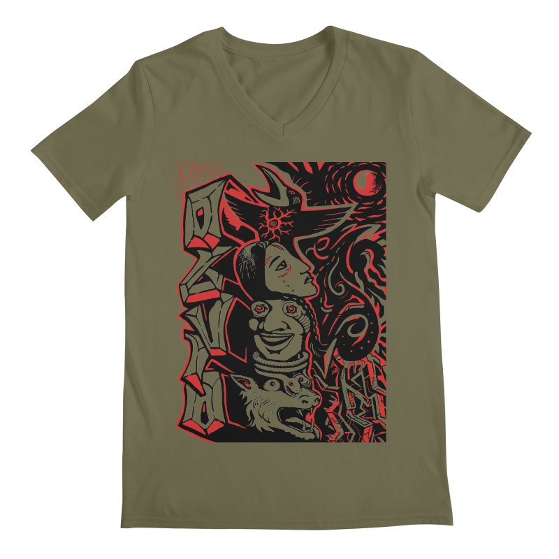 totem red Men's Regular V-Neck by truthpup's Artist Shop