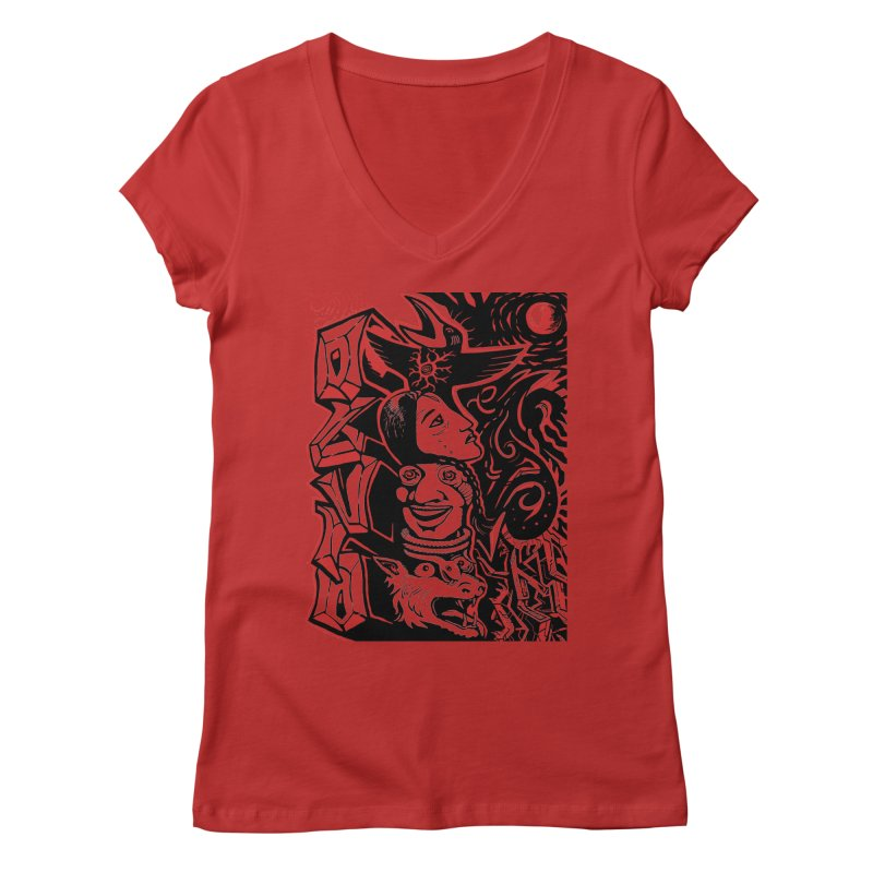 totem red Women's Regular V-Neck by truthpup's Artist Shop