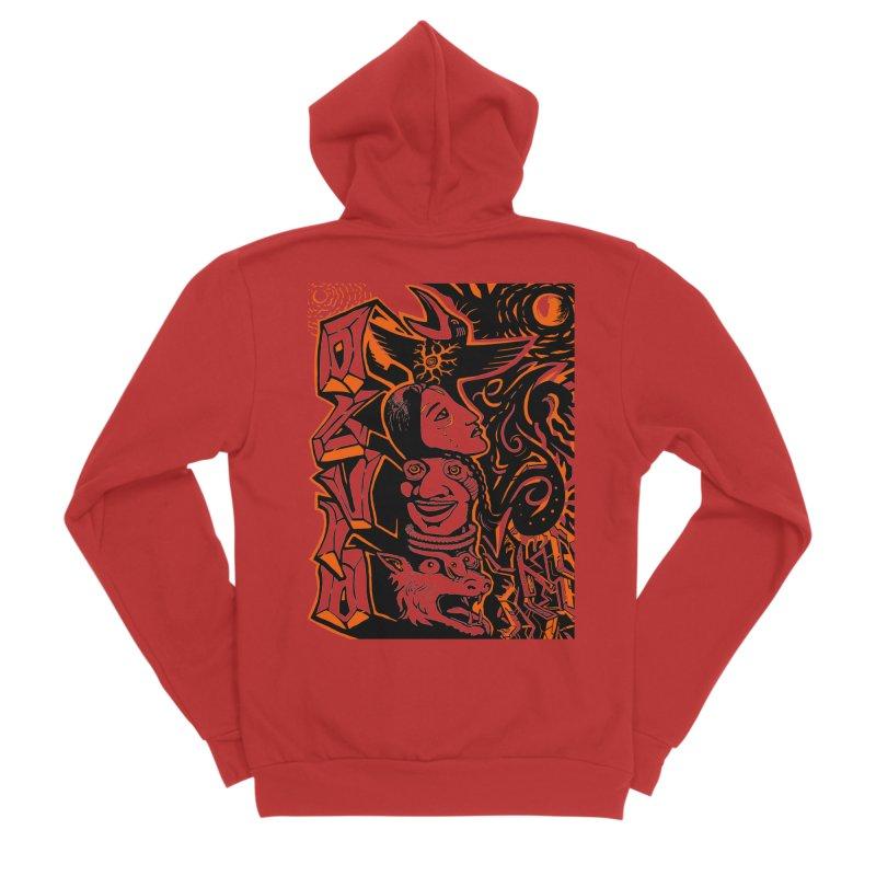 TOTEM ORANGE Men's Sponge Fleece Zip-Up Hoody by truthpup's Artist Shop