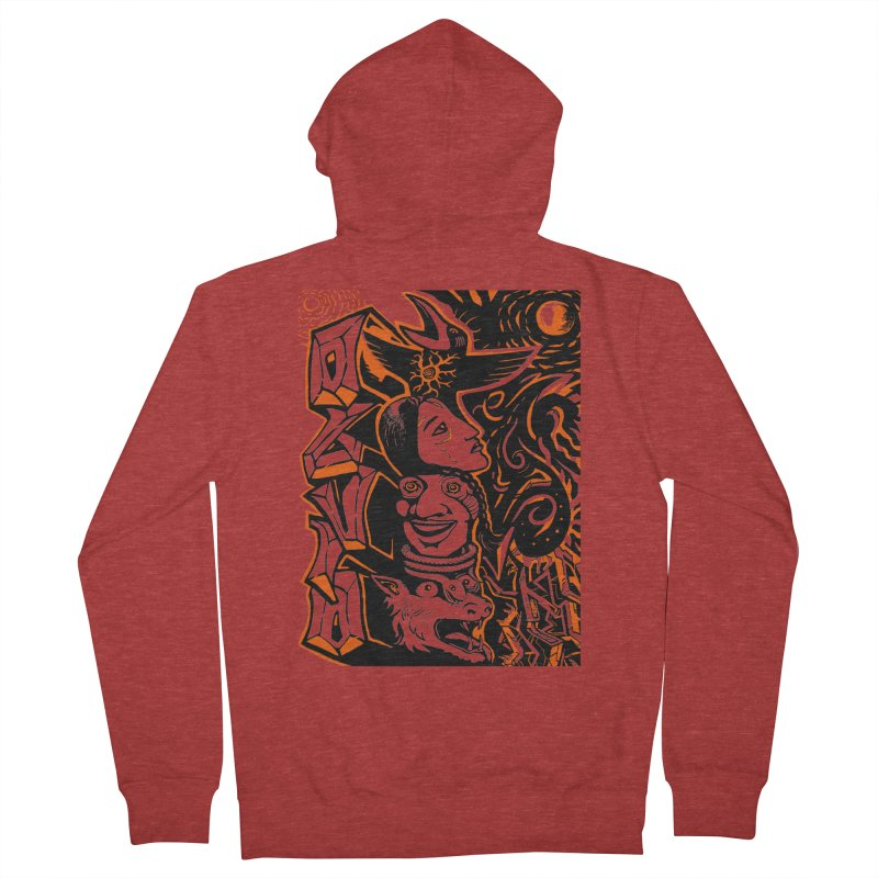 TOTEM ORANGE Men's French Terry Zip-Up Hoody by truthpup's Artist Shop